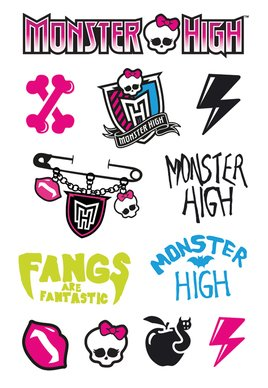 Monster High Tattoo sheet 1